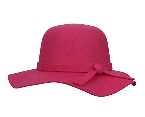 Bigood(TM) Girls Kids Winter Faux Wool Wide Brim hat 51-52cm Rose red