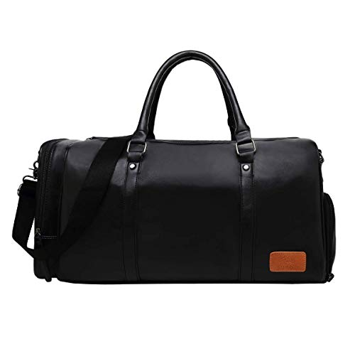 CUIBIRD Mens & Womens 40L Large Overnight Bag Vintage Leather Travel Duffel Bag Waterproof Sports Training Tote bag With Shoes Compartment (Black)