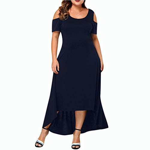 Lowest Prices! WEISUN Women Casual Dress Summer Plus Size O-Neck Dress Fall Solid Color Off-Shoulder...
