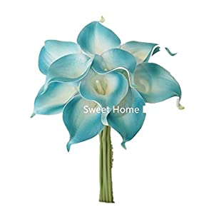 "Sweet Home Deco Latex Real Touch 15"" Artificial Calla Lily 10 Stems Flower Bouquet for Home/Wedding (Aqua) 1"