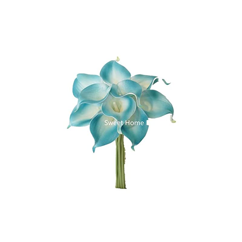 """silk flower arrangements sweet home deco latex real touch 15"""" artificial calla lily 10 stems flower bouquet for home/ wedding (aqua)"""