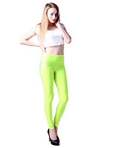 [HDE Women's Shiny Solid Color Seamless Cool Stretch Leggings Great Seasonal Wear (Neon Green)] (Neon Party Outfits)