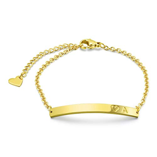 THREE KEYS JEWELRY Initial A Bracelet 316L Stainless Steel Gold Tone Bar Pendant Letter Alphabet Disc Jewelry for Women and Girls(6.5