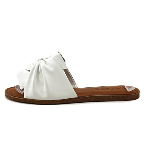 1. State Womens Chevonn Leather Open Toe Casual Slide Sandals, White, Size 6.0