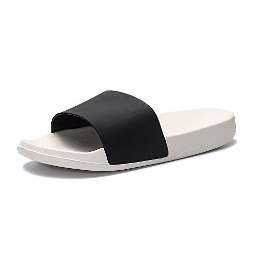 Women's Slide Sandal with Arch Support Open Toe Soft Sole Indoor Outdoor Casual Sandals Black White