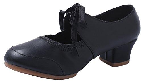 Abby 215 Kvinna Charmiga Färsk Stängd Tå Mary Jane Andas Blocket Häl Modern Squre Snörning Dans Sneakers Svart