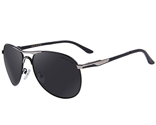 MERRY'S Classic Brand Driving Polarized Sunglasses For Men Defending Coating Lens Driving Shades S8712 (Silver&Black, 62) (Sun Shades Box compare prices)