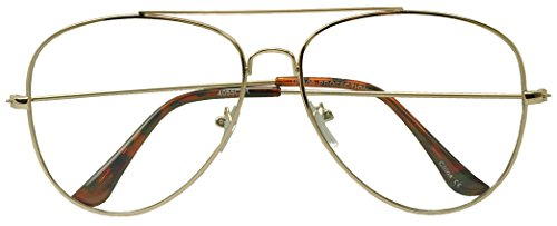 [Sunglass Stop - Round Gold Metal Aviator Clear Lens Glasses (Gold , 60)] (60s Fashion Men)