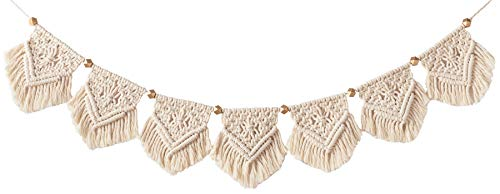 """Mkono Macrame Woven Wall Hanging Fringe Garland Banner Bohemian Wall Decor Woven Home Decoration for Apartment Bedroom Living Room Gallery Baby Nursery, 7.5"""" W x 39.3"""" L"""
