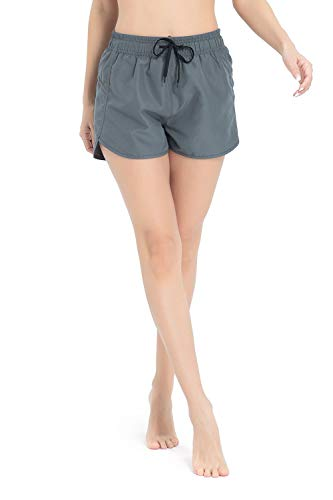 Meegsking Women Casual Board Shorts Solid Color Oceanside Summer Beach Trunks with Pocket Grey