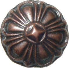 Antique Copper Scalloped Shape Head Tacks 3/4'' Diameter + 9/16'' Long 12 Nails Pack Decorative Furniture Upholstery Pins + Free Bonus (Skeleton Key Badge) AC-3526