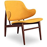 Kardiel Larsen Shell Wood Modern Lounge Chair, Citrine Twill/Walnut Stain