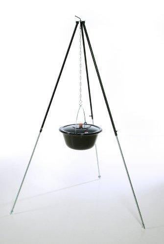 Original ungarischer Gulaschkessel (14 Liter) + Dreibein-Gestell (130cm) ✓ Emailliert ✓ Kratzfest ✓ Geschmacksneutral | Teleskop-Dreifuß mit Gulasch-Topf, Suppentopf, Glühweintopf | Kochkessel mit Deckel für Kesselgulasch, Glühwein-Kessel im Set