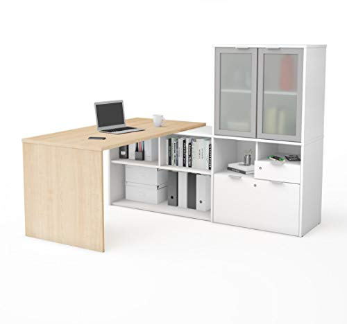 Bestar L-Shaped Desk with Frosted Glass Doors Hutch - i3 Plus