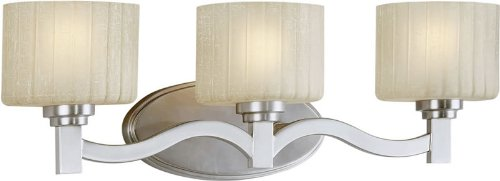 Forte Lighting 5388-03-55 Transitional 3-Light Vanity Fixture with Umber Linen Glass, Brushed Nickel - Umber 3 Vanity Light