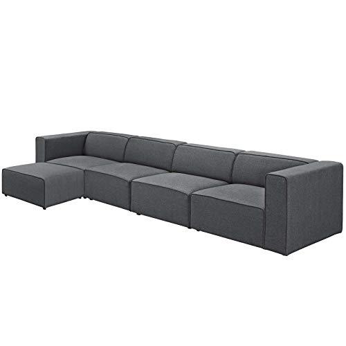 Modern Contemporary Urban Design Living Room Lounge Club Lobby Sectional Sofa Set, Fabric, Grey Gray