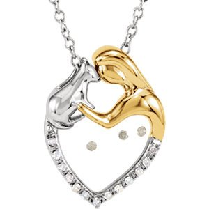 En argent sterling et totalisant .06 carat Diamant Lady chat collier 45,7 cm Coeur