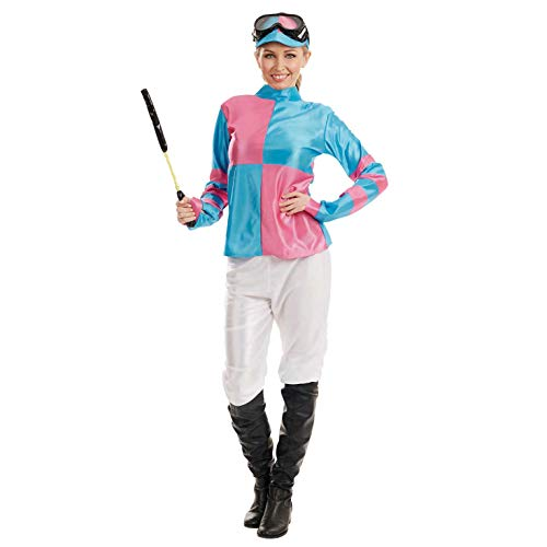 Womens Pink & Blue Jockey Girl Costume Adults Races Horse Racer Outfit - X-Large