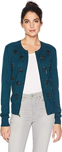 Embellished Couture (Juicy Couture Women's Embellished Crystal Paisley Cardigan Eloquent Petrol X-Large)