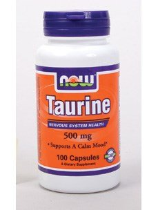 Now Foods Taurine 500 mg, 100 caps (Pack of 2)