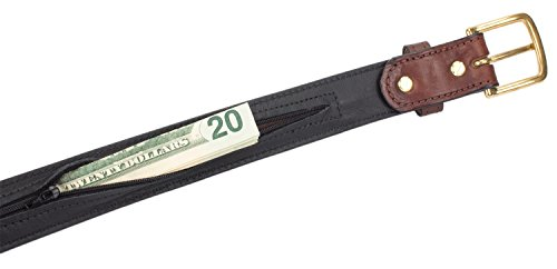 Hidden Money Pocket Travel Leather Belt (Size 42, Brown)
