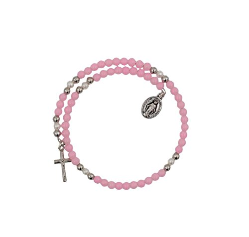 Made In Italy 4mm Bead Wrap Rosary Bracelet with Miraculous Medal and Crucifix Pink