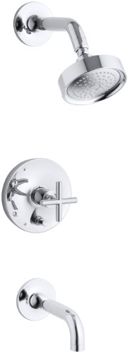 Diverter Valve Trim Cross - KOHLER K-T14421-3-CP Purist Rite-Temp Pressure-Balancing Bath and Shower Faucet Trim, Polished Chrome