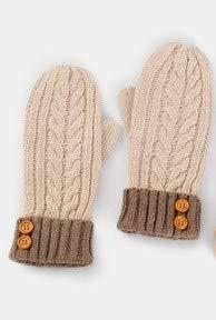 クローゼットかける素朴なミトン型ニット手袋ボタン ベージュブラウン