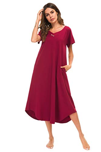 - YOZLY Loungewear Womens Cotton Knit Short Sleeve Long Nightgown with Pockets S-XXL (Wine Red, M)