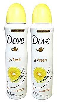 Dove Go Fresh Deodorant 48h Spray 150 ml/5 fl oz (Grapefruit & lemongrass Scent, 2-pack)