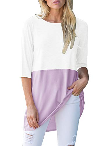 Saikesigirl Womens 3/4 Sleeve Shirts Long Tunic Tops Color Block Summer Fall Casual Loose Cotton Blouse Purple (Color Block Tunic)