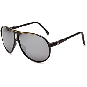 I SKI Climax Aviator Sunglasses,Matte Black & Yellow Frame/Smoke & Silver Lens,One Size