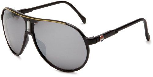 I SKI Climax Aviator Sunglasses,Matte Black & Yellow Frame/Smoke & Silver Lens,One - Ski I Sunglasses