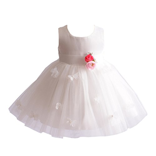 Christening Satin Dress Tulle (Romping House Newborn Girls Flowers Butterfly Layered Tulle Baptism Dress Christening Gown with Headband Ivory Size 3M)