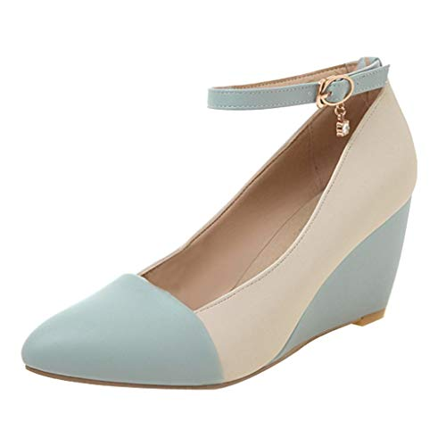 SAYEI Fashion Office Lady Pointed Toe Ankle Strap Wedge Heel Shoe Pumps Plus Size Shoe Blue
