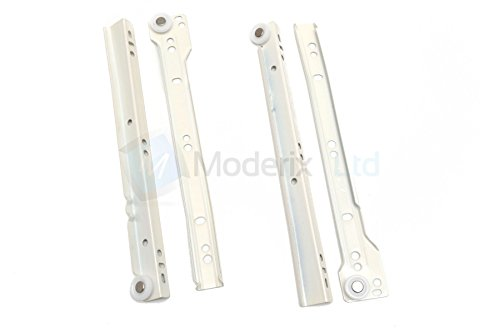 Roller Drawer Slides / Runners Bottom Fix Metal White L:450mm (4pairs) by GTV