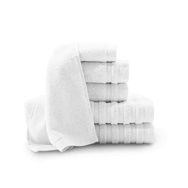 Baltic Linen Company Pure Elegance 100-Percent Turkish Cotton 6-Piece Luxury Towel Set, Bright White