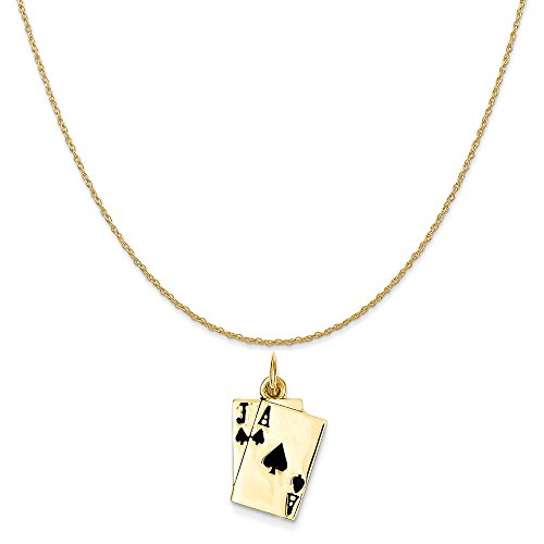Mireval 14k Yellow Gold Enameled Blackjack Playing Cards Charm on 14K Yellow Gold Rope Chain Necklace, 18