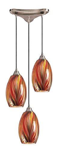 Elk 517-3M 3-Light Pendant In Satin Nickel and Multi Glass - Mulinello Collection Pendant