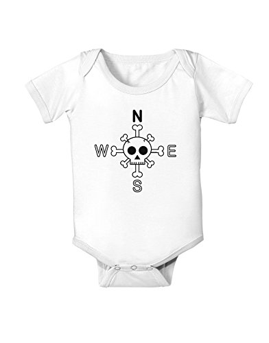 Compass Rose - Skull and Crossbones Baby Romper Bodysuit - White - 6 Months (Halloween Word Search Print Out)
