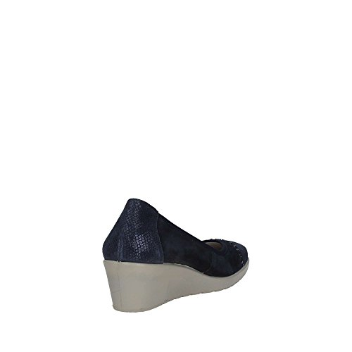 Donna Italy Pelle 12570 Blu Scarpa Soft Made Decolletè In Con Bleu Zeppa Enval wAqPIann