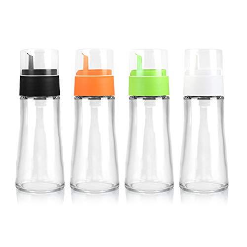 Oil Vinegar Dispenser, Caliamary 4 Pack Glass Olive Oil and Vinegar Dispenser Bottle Set, Kitchen Cooking Oil Vinegar Sauce Wine Glass Dispenser Bottle, 200ml (4)
