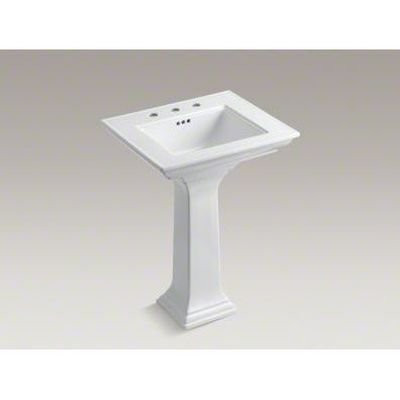 Center Pedestal Sink (KOHLER K-2344-8-0 Memoirs Pedestal Bathroom Sink with Stately Design and 8
