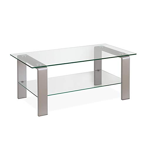 Henn&Hart Sleek Nickel and Glass Coffee Table