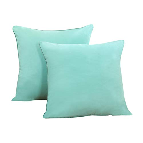 Sunday Palm Set (Set of 2 Solid Decorative Throw Pillow Covers Cases Sofa Couch Bed,100 Percents Cotton Square Pillow Covers Euro Shams Cozy Soft Cushion Covers 18x18 inch,Best Home Décor (Aqua))