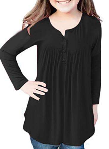 Blibea Girls Henley V Neck Pleated Button Down Tunic Top Casual Blouse Shirts Size 4-5 Black