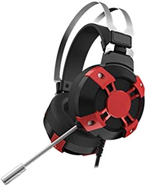 RENKUNDE カラフルな光ケーブルのゲーミングヘッドセットヘッドマウント調整可能なボディ調節可能なイヤークッション、快適で通気性 ゲーミングヘッドセット