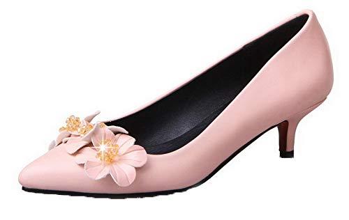Donna Ballet AllhqFashion Flats Tirare Rosa Scarpe Luccichio FBUIDD006750 Punta A Puro 0SrSqWd