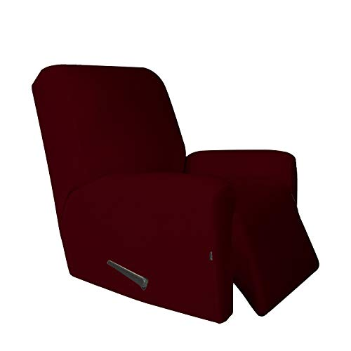 Easy-Going 4 Pieces Microfiber Stretch Recliner Slipcover - Spandex Soft Fitted Sofa Couch Cover, Washable Furniture Protector with Elastic Bottom Kids,Pet (Recliner,Wine