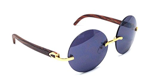 Diplomat Rimless Round Metal & Wood Grain Frame Sunglasses (Gold & Cherry Wood Frame, Black)